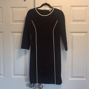 3/4 sleeve black dress with white piping